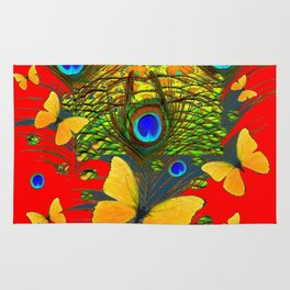 GREEN PEACOCK FEATHERS YELLOW BUTTERFLIES ON  RED ART Rug