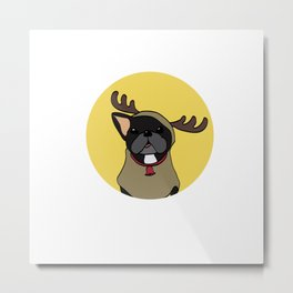 Black Frenchie in Reindeer Costume  Metal Print