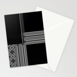 Multiple Black White Geometric Patterns Stationery Cards