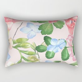 Watercolor Floral Collage in Blush Rectangular Pillow