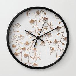 Vintage Cherry Blossom Illustration  Wall Clock