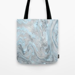 Ice Blue and Gray Marble Tote Bag