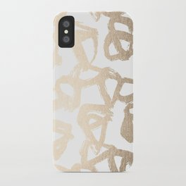 White Gold Geometric Triangle Pattern iPhone Case
