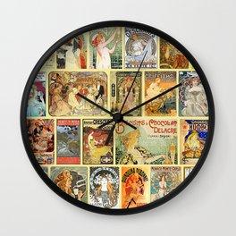 Art Nouveau Advertisements Collage Wall Clock