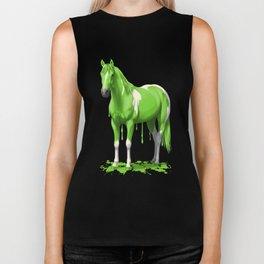 Neon Green Wet Paint Horse Biker Tank