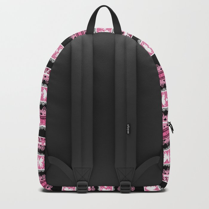 Black and pink striped pattern . Backpack