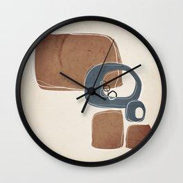 Retro Abstract Design in Peninsula Blue and Cinnamon Wall Clock