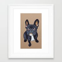 french bulldog Framed Art Prints featuring French Bulldog by PaperTigress