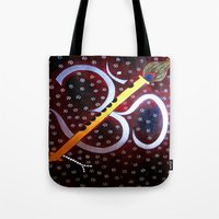 om Tote Bags featuring Om by Priyanka Rastogi