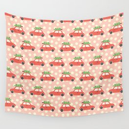 Red Vintage Holiday Christmas Cars Wall Tapestry