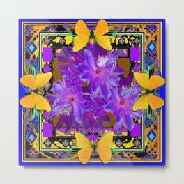 TROPICAL PURPLE FLOWERS & YELLOW BUTTERFLIES FRAMED ART Metal Print