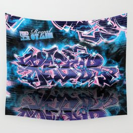 Pager Graffiti Mural Royal Stain Wall Tapestry