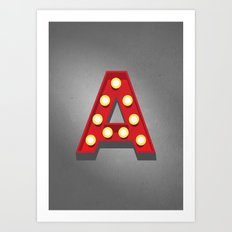 A - Theatre Marquee Letter Art Print
