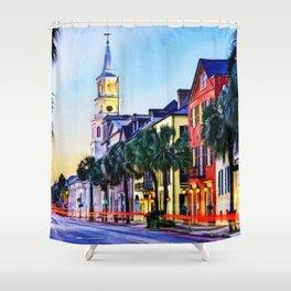 French Quarter at Dawn, Charleston, South Carolina Portrait Shower Curtain