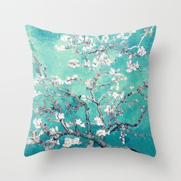 Vincent Van Gogh Almond Blossoms Turquoise Throw Pillow