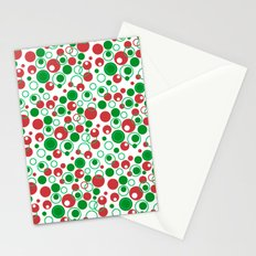 Circle Pattern Holiday Red Green and White Stationery Cards