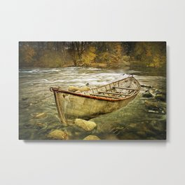 Canoe on the Thornapple River in Autumn Metal Print