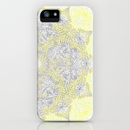 Sunny Doodle Mandala in Yellow & Grey iPhone Case