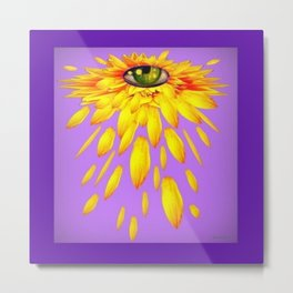 Surreal  Mystic Yellow Petal Eye Teal-Purple Color Art Metal Print