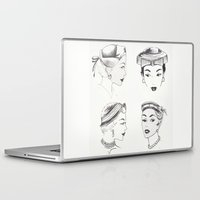 hats Laptop & iPad Skins featuring Vintage Hats  by Little Bunny Sunshine