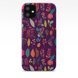 Autumn orange purple pink berries holly floral iPhone Case