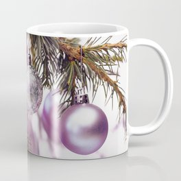 Pink Christmas shimmering baubles twig Coffee Mug