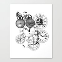 clockwork Canvas Prints featuring Clockwork by VectoriaDesigns