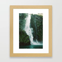 Milford Sound Waterfall Framed Art Print