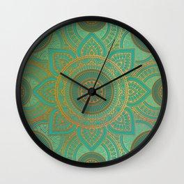 """Sea Turquoise Pattern Mandala (Teal & Gold)"" Wall Clock"