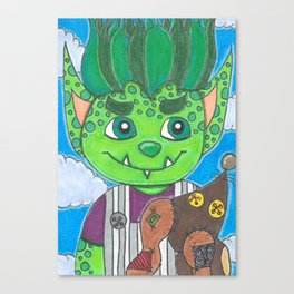 Young Goblin with stuffed dog Canvas Print