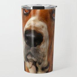 Basset dog portrait Travel Mug