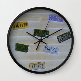 Old Neon Plates Wall Clock