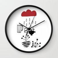 calendar Wall Clocks featuring CALENDAR 2014 by Maruša Novak