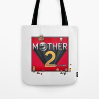 earthbound Tote Bags featuring Alternative Mother 2 / Earthbound Title Screen by Studio Momo╰༼ ಠ益ಠ ༽