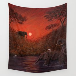 Elephants at the Waterhole Wall Tapestry