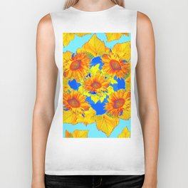 Turquoise-gold Sunflowers Leaves Pattern Abstract Biker Tank