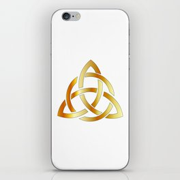 Golden triquetra celtic cross-3 point Celtic Trinity knot iPhone Skin