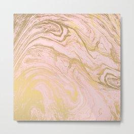 Trendy modern gold marble pastel Millennial pink Metal Print