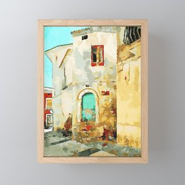 Buildings in the historic center of Tortora Framed Mini Art Print