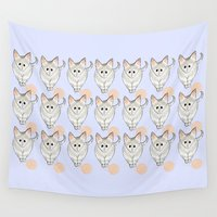 kittens Wall Tapestries featuring Pastel Kittens by Emily Rose Thomson