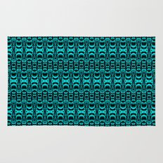 Abstract Pattern Dividers 07 in Turquoise Black Rug