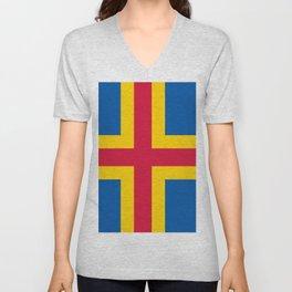flag of Aland Unisex V-Neck