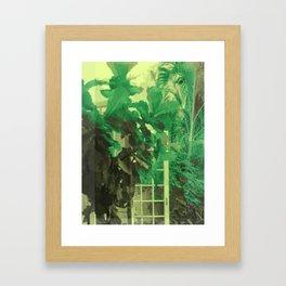 GREEN YELLOW DOOR PLANT WINDOW NATURE Framed Art Print