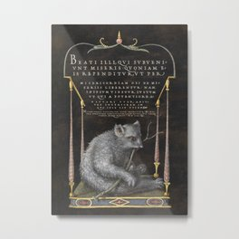 Sloth  fine art painting by Georg Bocskay and Joris Hoefnagel for The Model Book of Calligraphy Metal Print