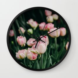 Blush Tulips By The Dozen Wall Clock