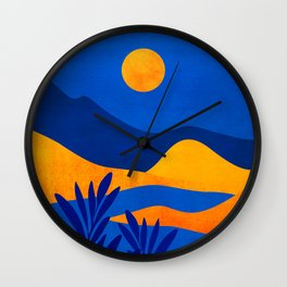 Moonrise Mountains / Blue and Orange Wall Clock