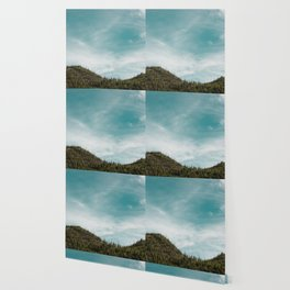 Teal Sky Forest Mountain Wallpaper