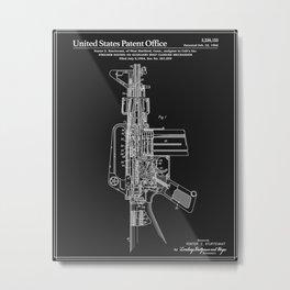 AR-15 Semi-Automatic Rifle Patent - Black Metal Print