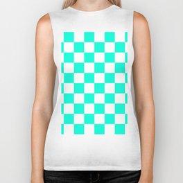 Cheerful Aqua Checkerboard Pattern Biker Tank