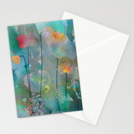 Water Lilies illustration watercolor painting  Stationery Cards